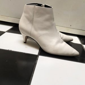 Sam Edelman white leather kitten heel ankle boot